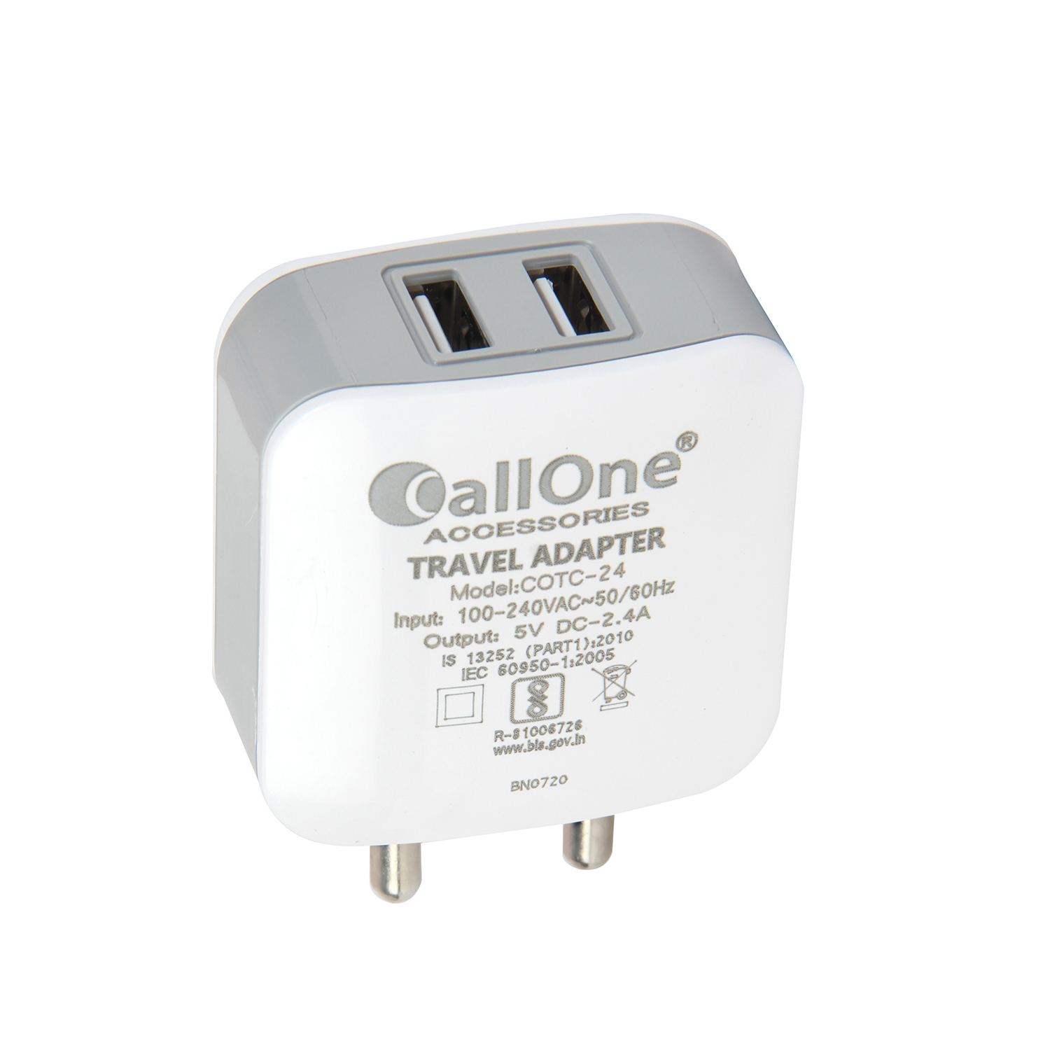 Callone 2USB Port fast Travel Charger 2.4Amp With Micro Cable