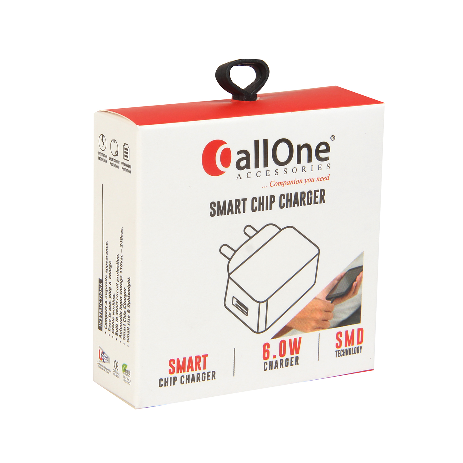 CallOne Slice Fast Travel Charger Inbuilt Micro USB Cable 5V-1Amp