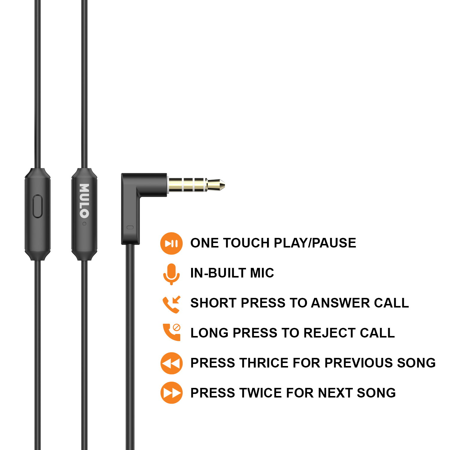Mulo Soultrip 500 in-Ear Wired Metal Earphone with mic, Super Rich Bass and High Clarity Sound (Black)