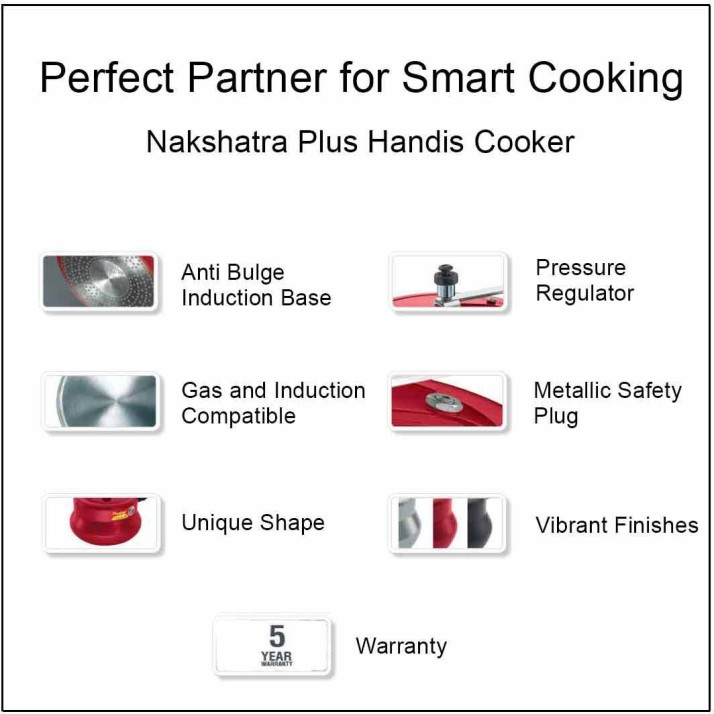 Prestige Nakshatra Plus Pressure Handi 3 L Induction Bottom Pressure Cooker�(Aluminium)