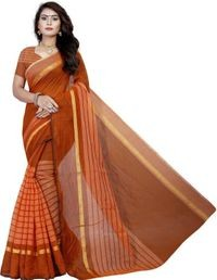 Sharda Creation Orange Colour Polycotton silk sare