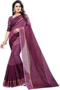 Sharda Creation Magenta Colour Polycotton silk sare