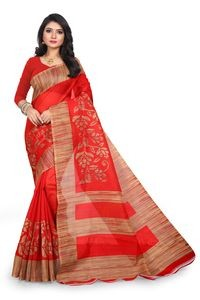 Sharda Creatoin Red Colour Printed Bhagalpuri Silk Saree????????