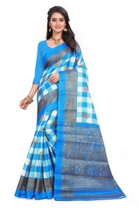Sharda Light Blue Yellow Mysor Silk Saree With Blouse Piece