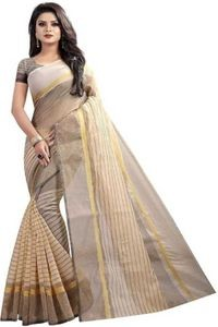 Sharda Creation Cream Colour Polycotton silk sare