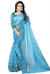 Sharda Creation Light Blue Colour Polycotton silk sare