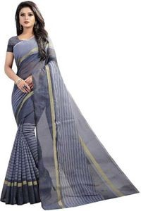 Sharda Creation Grey Colour Polycotton silk sare
