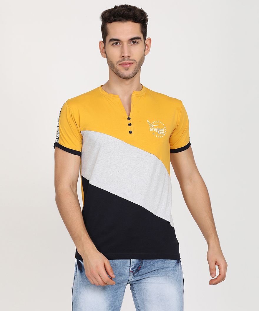 V2 Kart Men Half Sleeves Colorblocked Round Neck T-Shirt (Mustard)