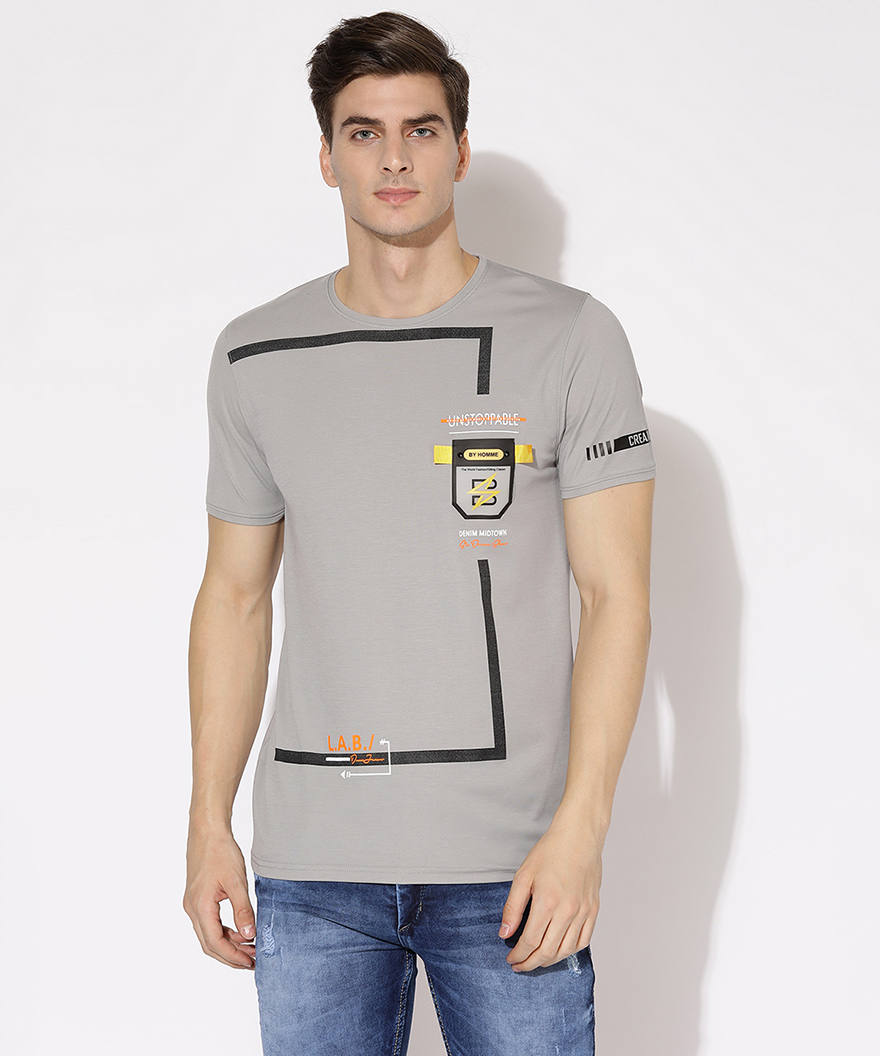 V2 Kart Men Half Sleeves Round Neck T-Shirt (Light Grey)