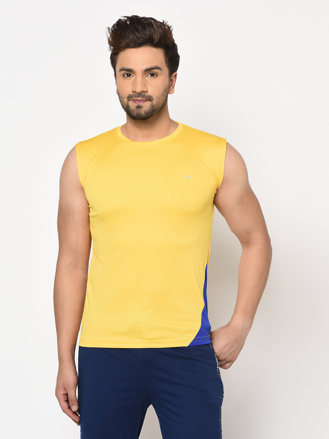 V2 Kart Men Drifit Sleeve Less Colorblocked Round Neck Tights (Yellow)