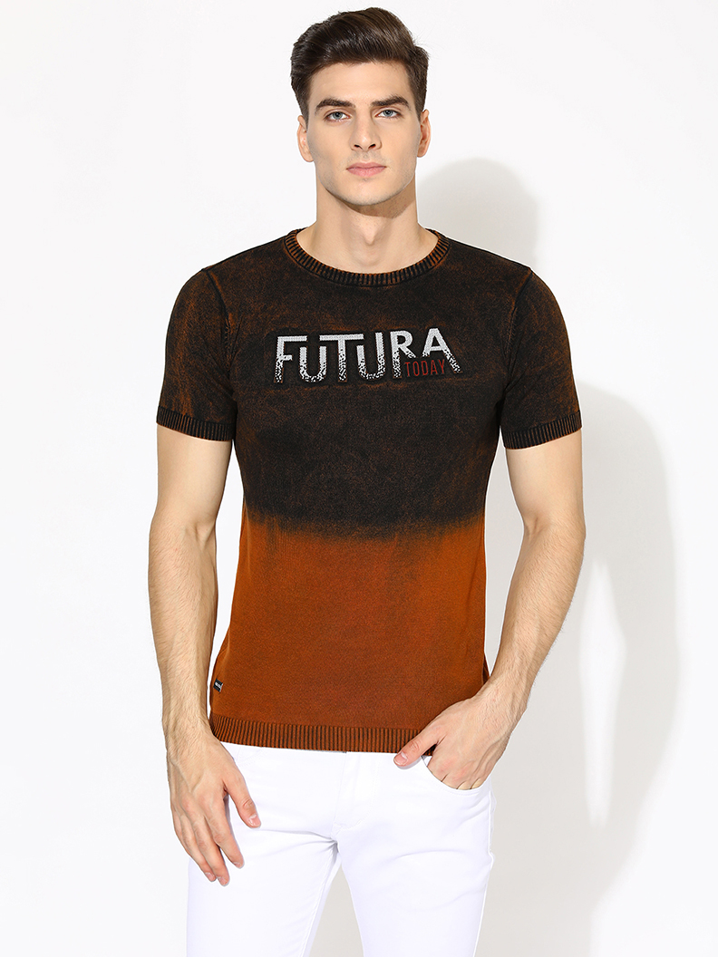 V2 Kart Men Half Sleeves Round Neck T-Shirt (Medium Brown)
