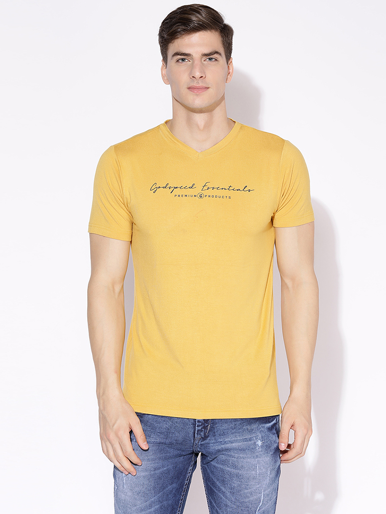V2 Kart Men Half Sleeves V Neck T-Shirt (Mustard)