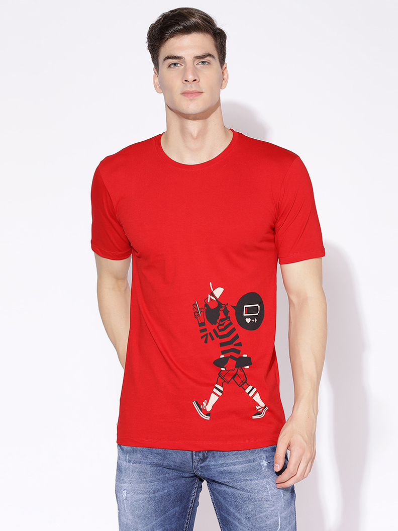 V2 Kart Men Half Sleeves Round Neck T-Shirt (Red)