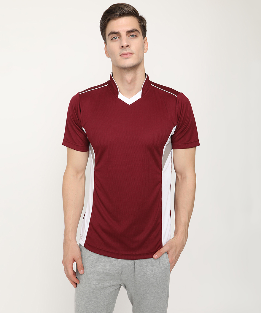 V2 Kart Men Drifit Half Sleeves T-Shirt (Medium Wine)