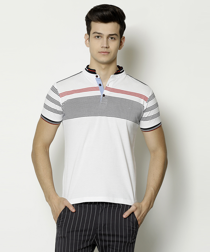 V2 Kart Men Half Sleeves Striped Polo Neck T-Shirt (White)