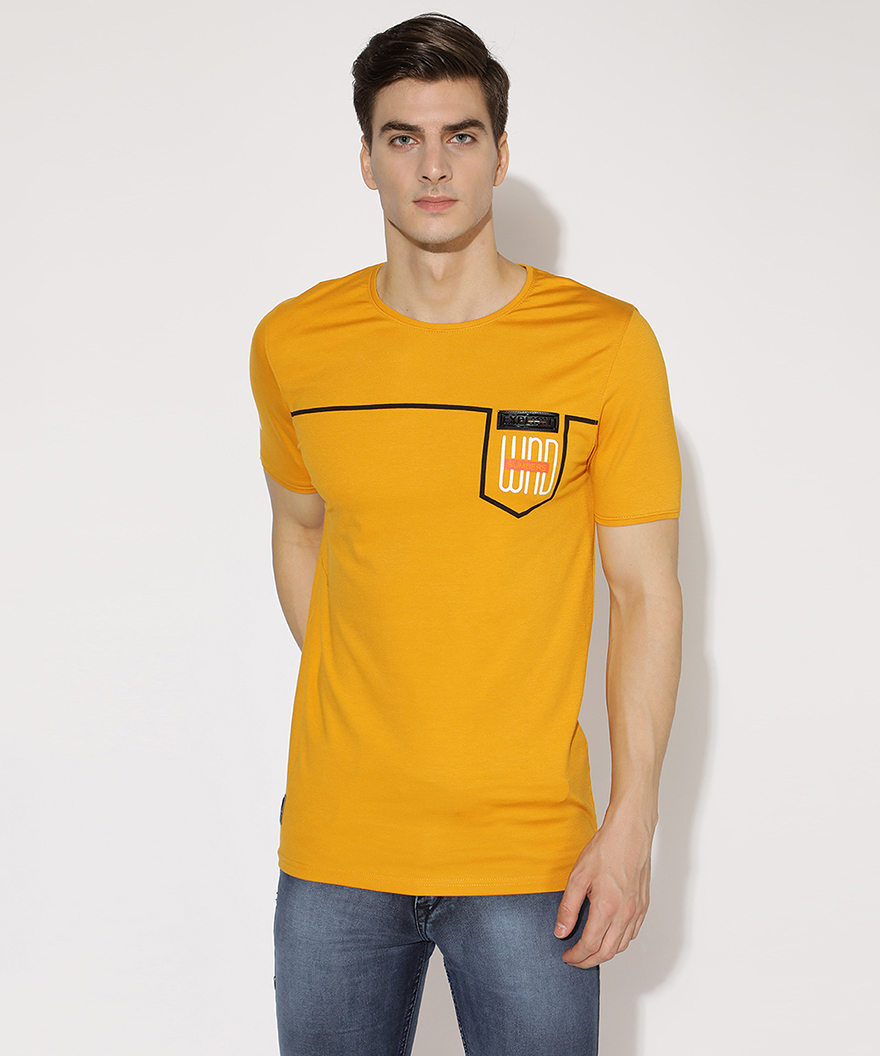 V2 Kart Men Half Sleeves Round Neck T-Shirt (Mustard)