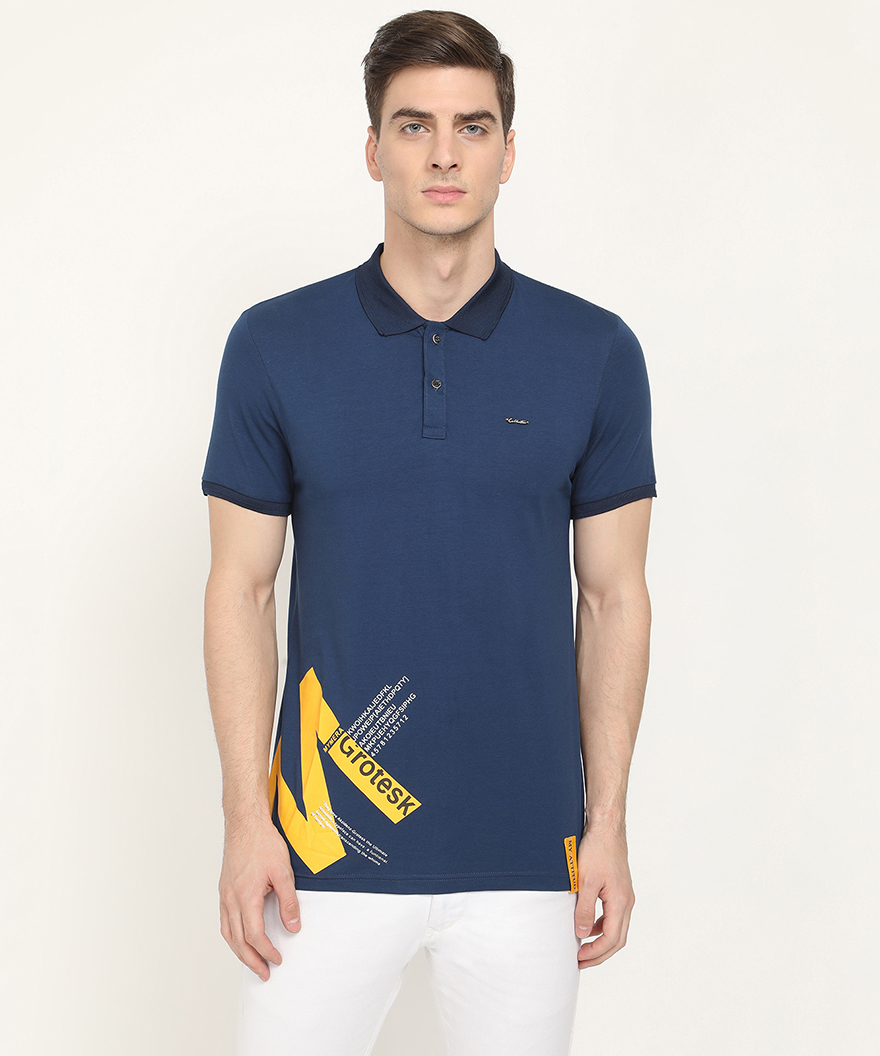 V2 Kart Men Half Sleeves Plain Polo Neck T-Shirt (Navy Blue)