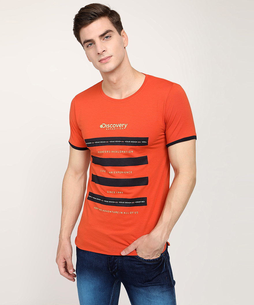 V2 Kart Men Half Sleeves Round Neck T-Shirt (Rust)