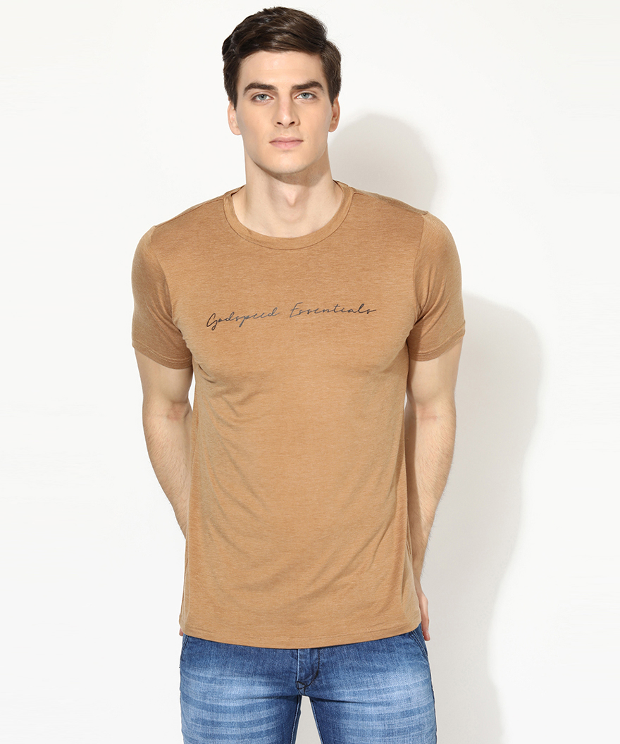 V2 Kart Men Half Sleeves Round Neck T-Shirt (Khaki)