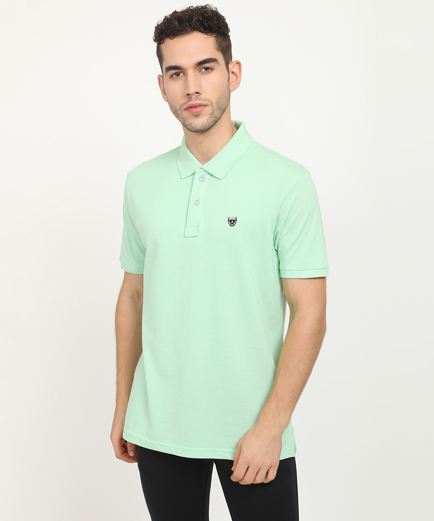 V2 Kart Men Half Sleeves Plain Polo Neck T-Shirt (Sea Green)