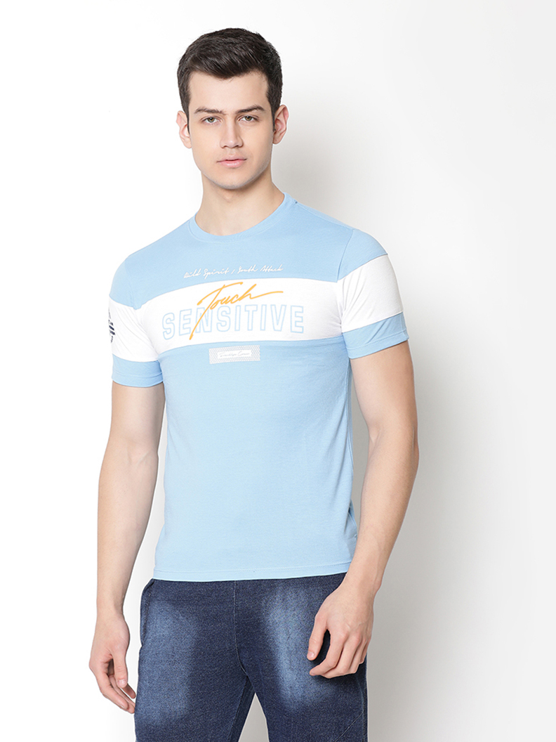 V2 Kart Men Half Sleeves Colorblocked Round Neck T-Shirt (Sky Blue)