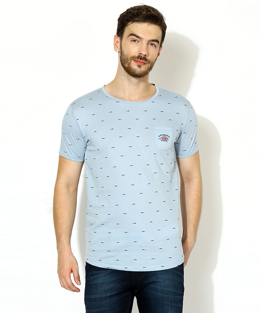 V2 Kart Men Half Sleeves Round Neck T-Shirt (Sky Blue)