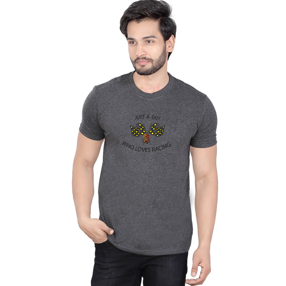 Krissxross Men's 100 % Cotton Premium Bio Washed Grey DTG Graphic Printed T-Shirt - (Just A Guy Who Loves Racing )