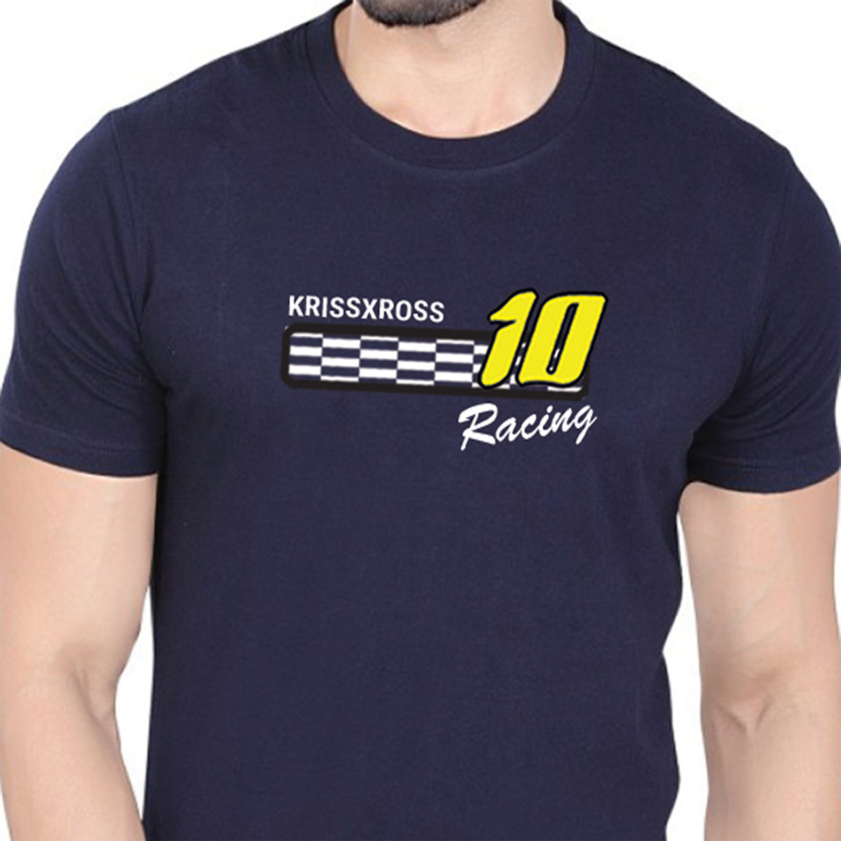 Krissxross Men's 100 % Cotton Premium Bio Washed Blue DTG Graphic Printed T-Shirt - (Krissxross 10 Racing )