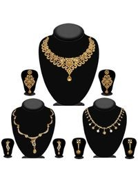 JewelMaze Pack Of 3 Gold Plated Necklace Combo -1004289
