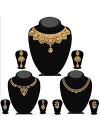 JewelMaze Pack Of 3 Gold Plated Necklace Combo -1004291