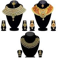 JewelMaze Multi Colored Alloy Gold-Plated Necklace Set