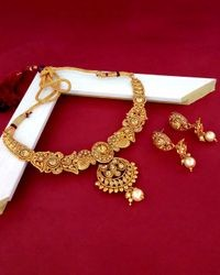 JewelMaze Brown Alloy Gold-Plated Necklace Set
