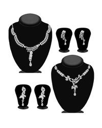 JewelMaze Silver Alloy Silver Plated Necklace Set