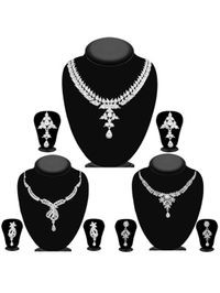 JewelMaze Pack Of 3 Silver Plated Necklace Combo -1004294