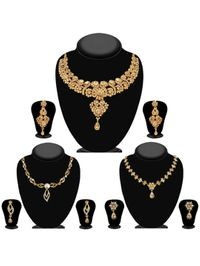 JewelMaze Pack Of 3 Gold Plated Necklace Combo -1004285