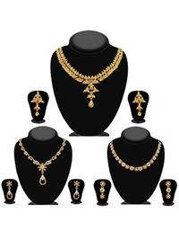 JewelMaze Pack Of 3 Gold Plated Necklace Combo -1004293