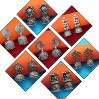 JewelMaze set of 7 Silver Alloy Silver Plated Jhumki