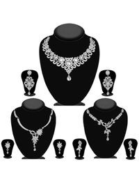 JewelMaze Pack Of 3 Silver Plated Necklace Combo -1004290