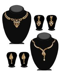 JewelMaze Gold Alloy Silver Plated Necklace Set