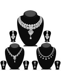 JewelMaze Pack Of 3 Silver Plated Necklace Combo -1004286