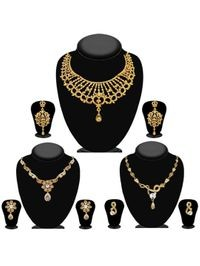 JewelMaze Pack Of 3 Gold Plated Necklace Combo -1004287