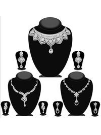 JewelMaze Pack Of 3 Silver Plated Necklace Combo -1004292