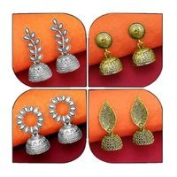 JewelMaze Set of 4 Silver Alloy Silver Plated Jhumki