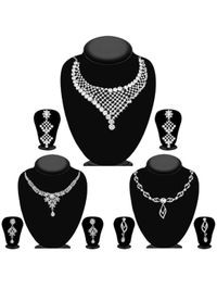 JewelMaze Pack Of 3 Silver Plated Necklace Combo -1004284