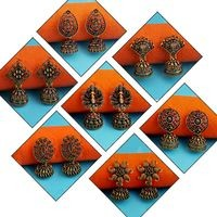 JewelMaze set of 7 Gold Alloy Gold-Plated Jhumki