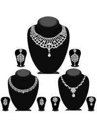 JewelMaze Pack Of 3 Silver Plated Necklace Combo -1004288