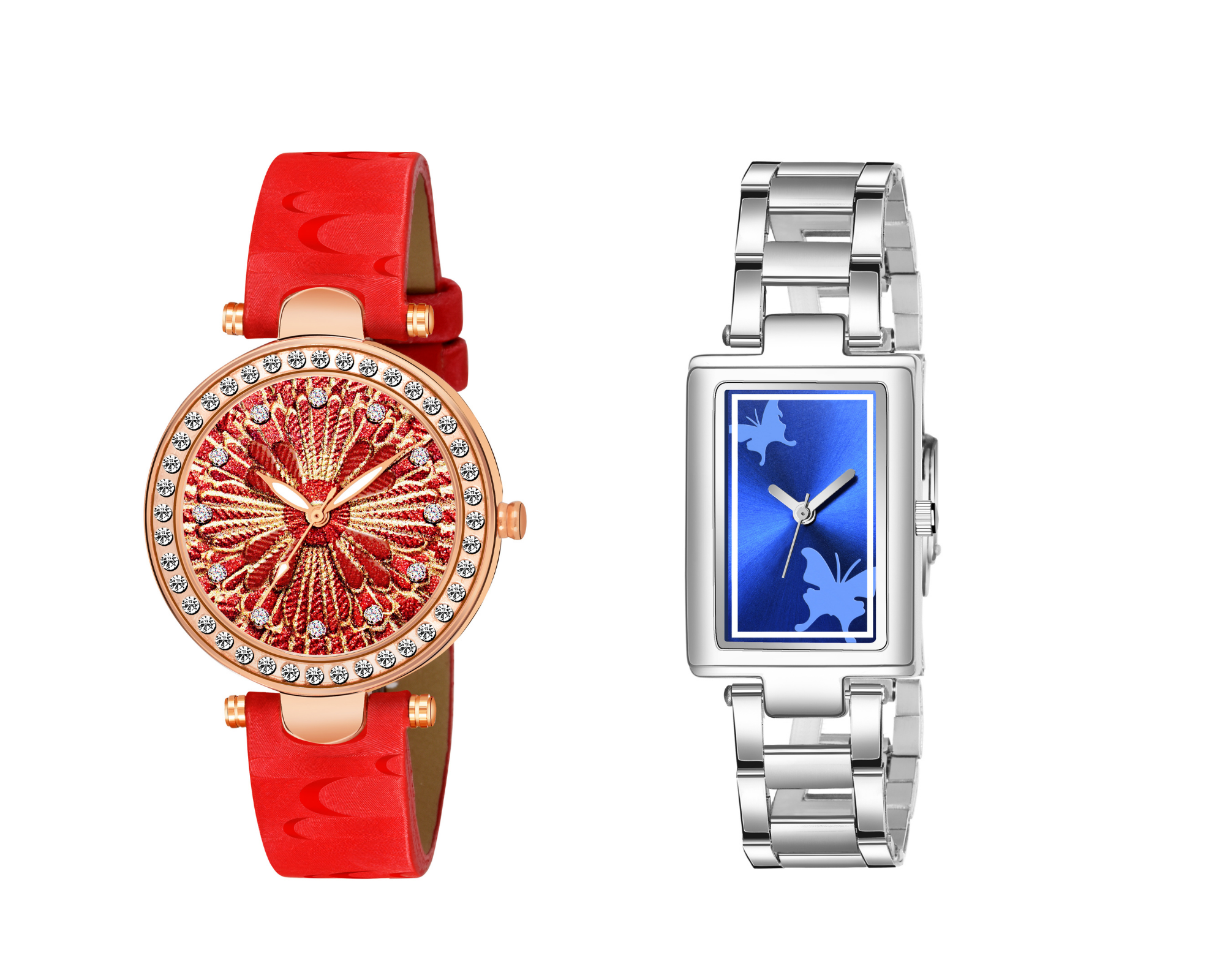 Super Hit Collection red & golden design & Square Shape Butterfly Design Blue Dial