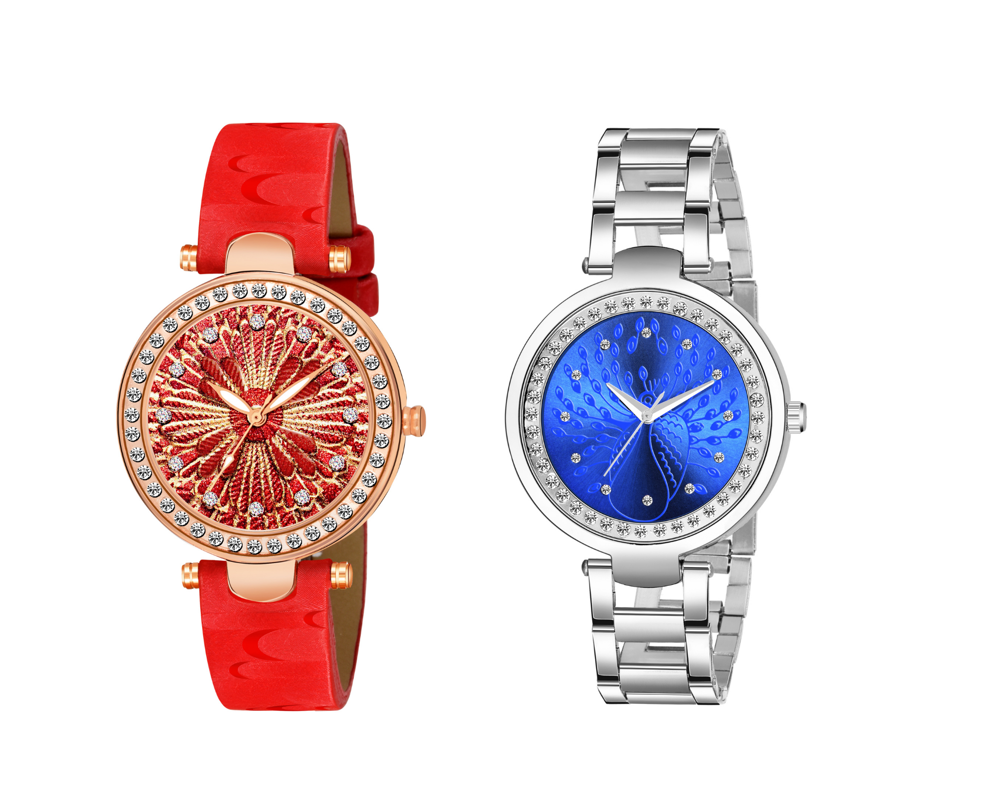 Jamvai Hit Collection red & golden design & Peacock Design Diamond Studded blue Dial