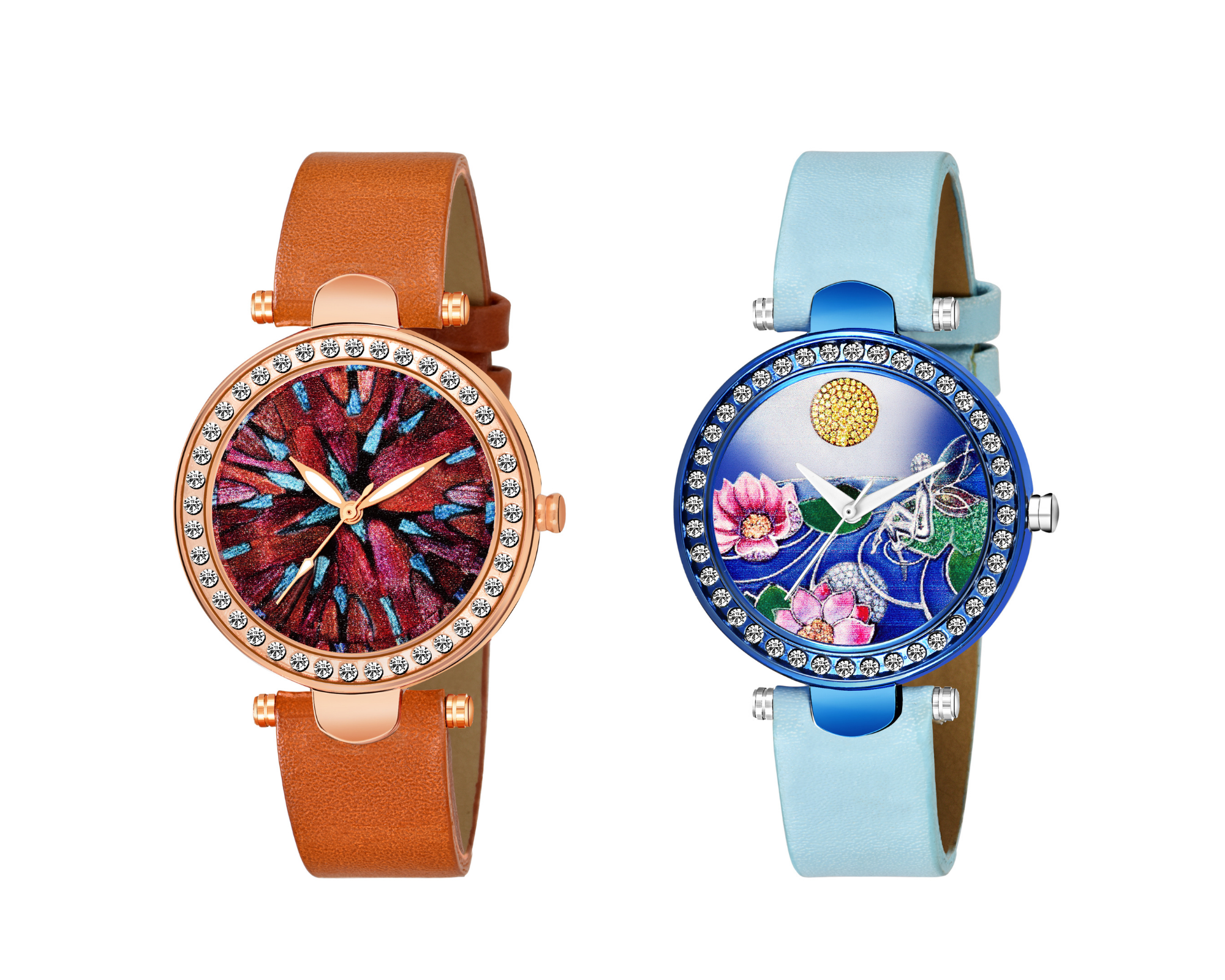 A�Hit Collection multi dial design watchA�& FLOWER BEAUTIFUL LEAF