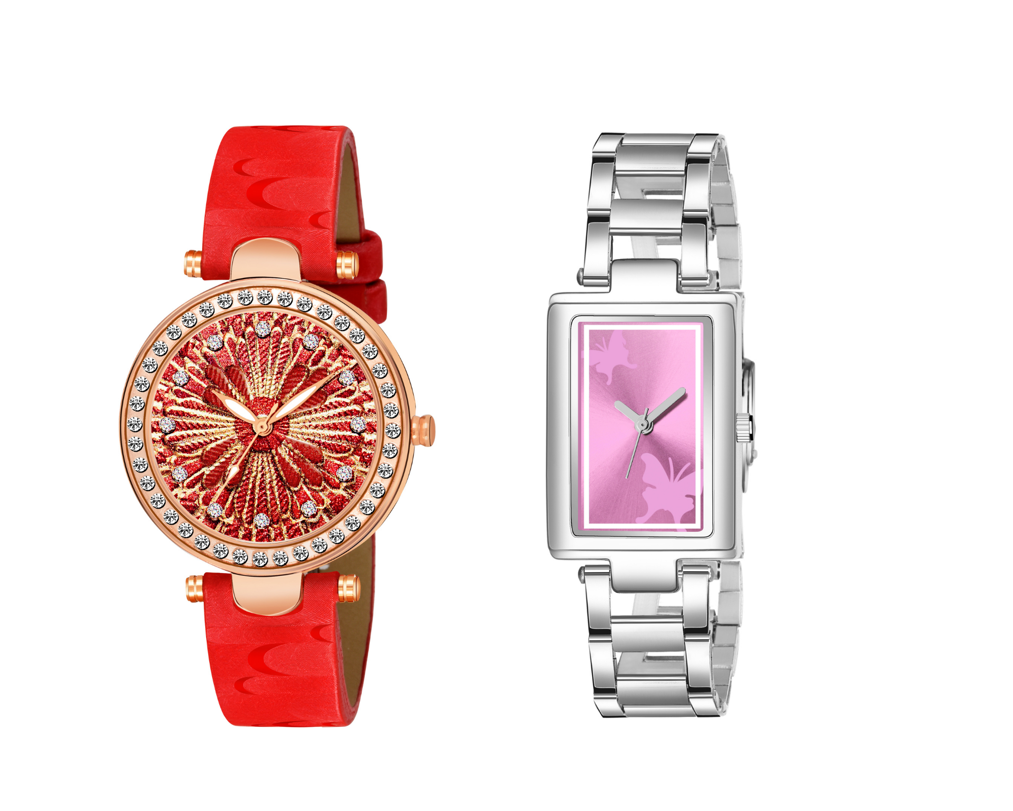 Jamvai Super Hit Collection red & golden design & Square Shape Butterfly Design pink Dial